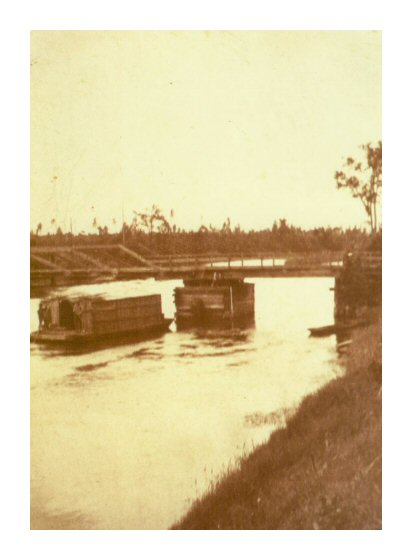 Wanagan coming under Bamfield Bridge late 1800's